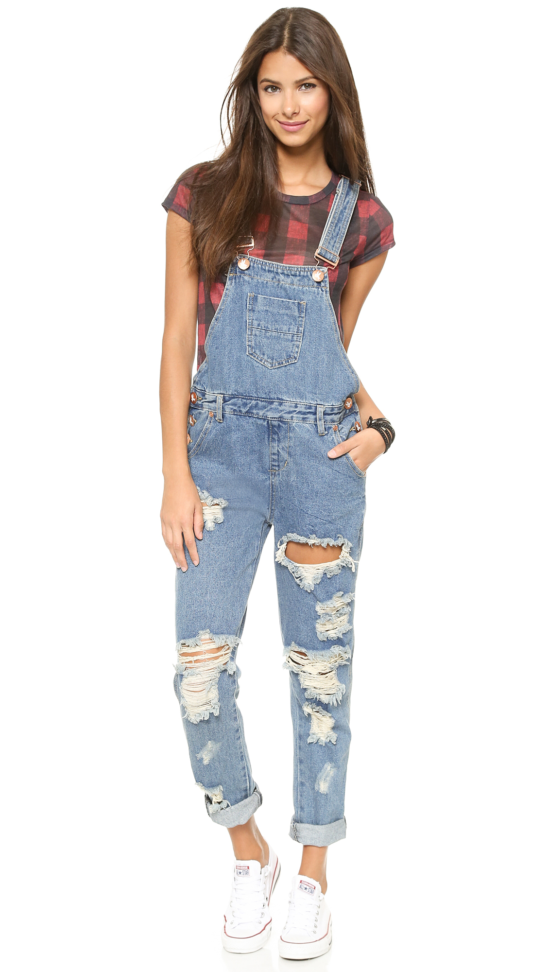 c7e5e175e7a2 Lyst - One Teaspoon Wolf Blue Awesome Overalls - Wolf Blue in Blue