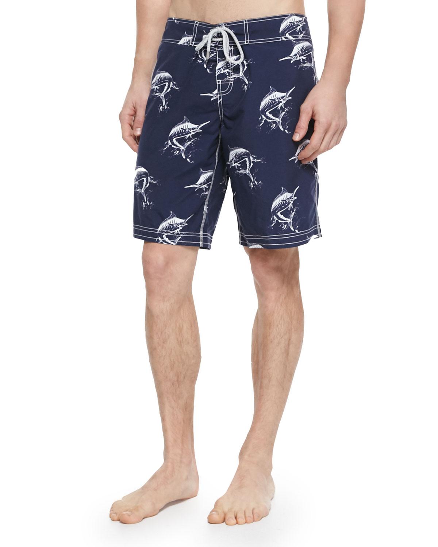 Lyst vilebrequin ocean fish print swim trunks in blue for Fishing swim trunks