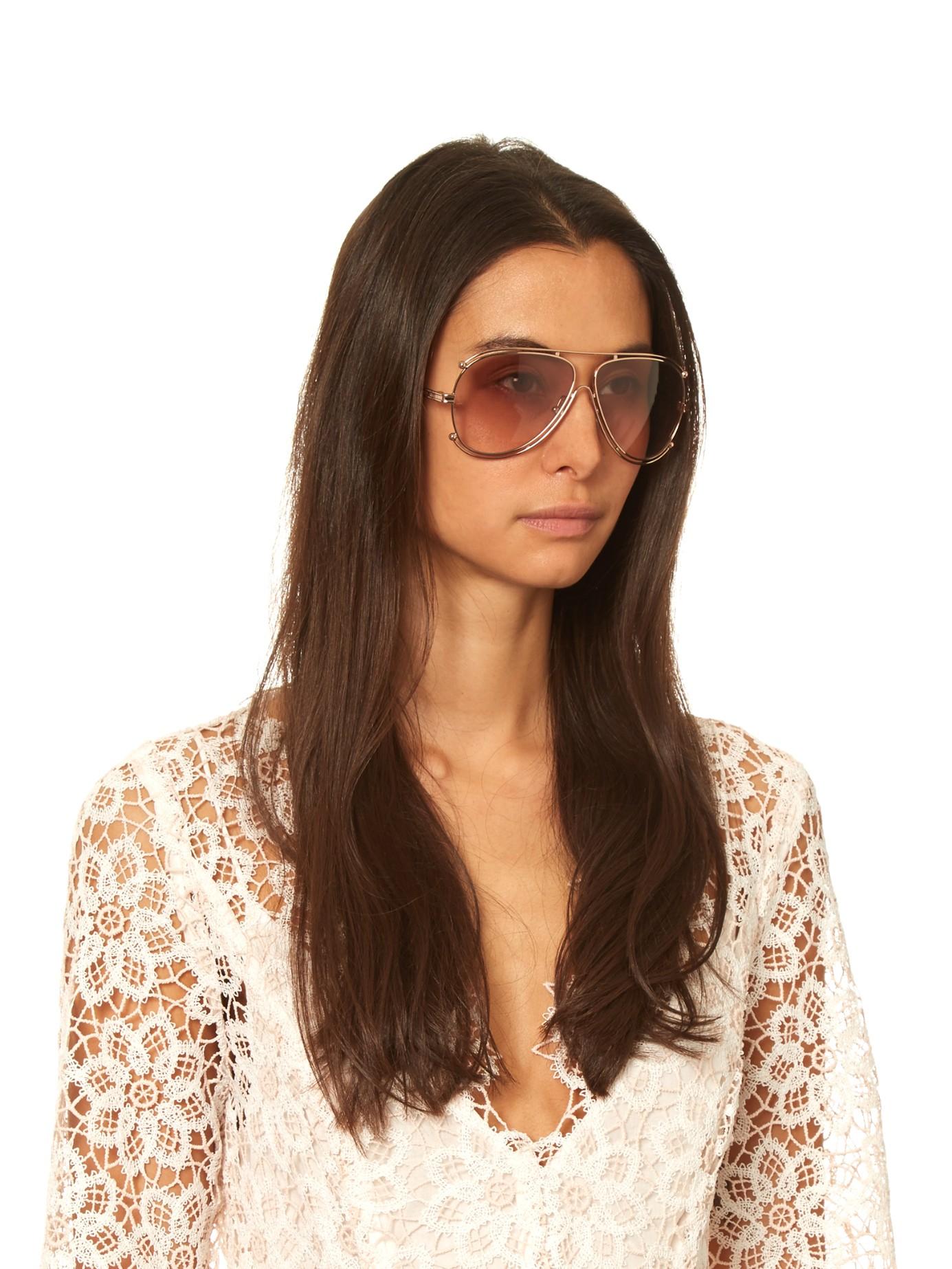 61b6324d74a Lyst - Chloé Isidora Aviator Sunglasses in Pink