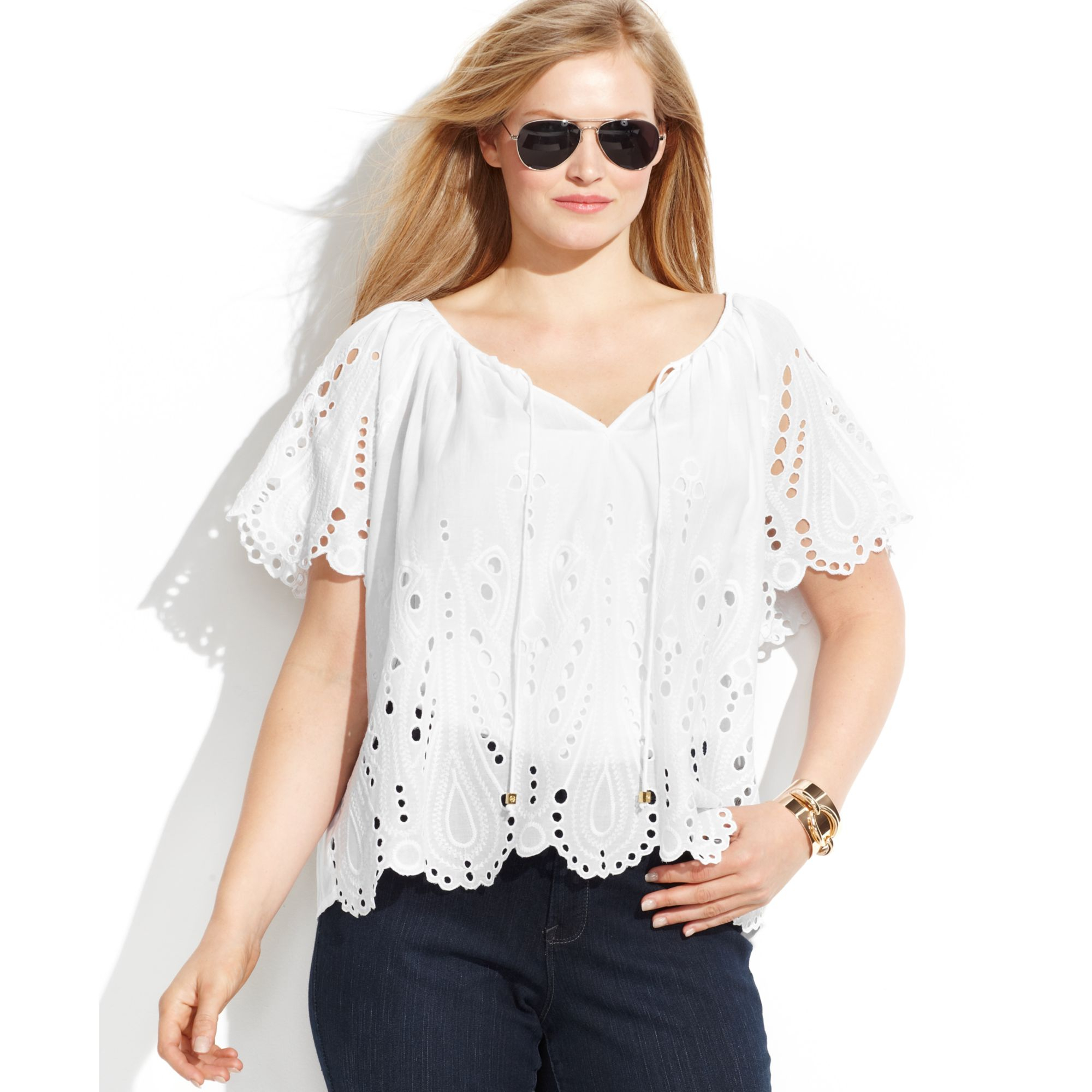 Michael kors Michael Plus Size Shortsleeve Eyelet Blouse in White ...