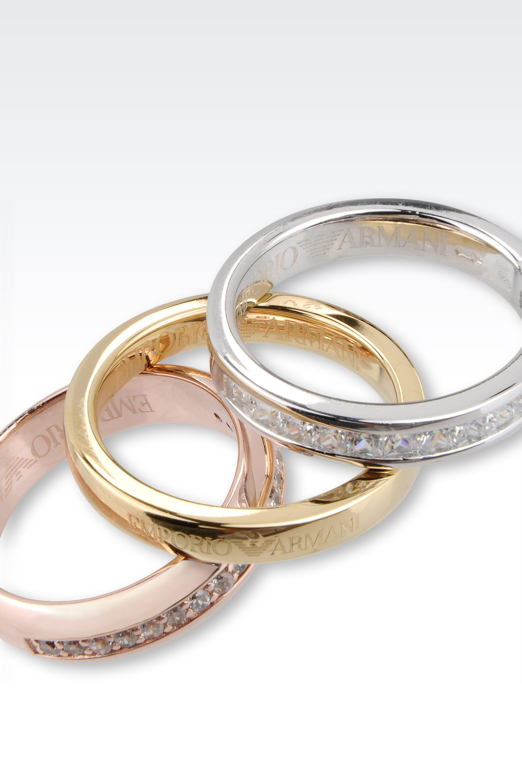 emporio armani ring in rhodium plated silver and cz stones