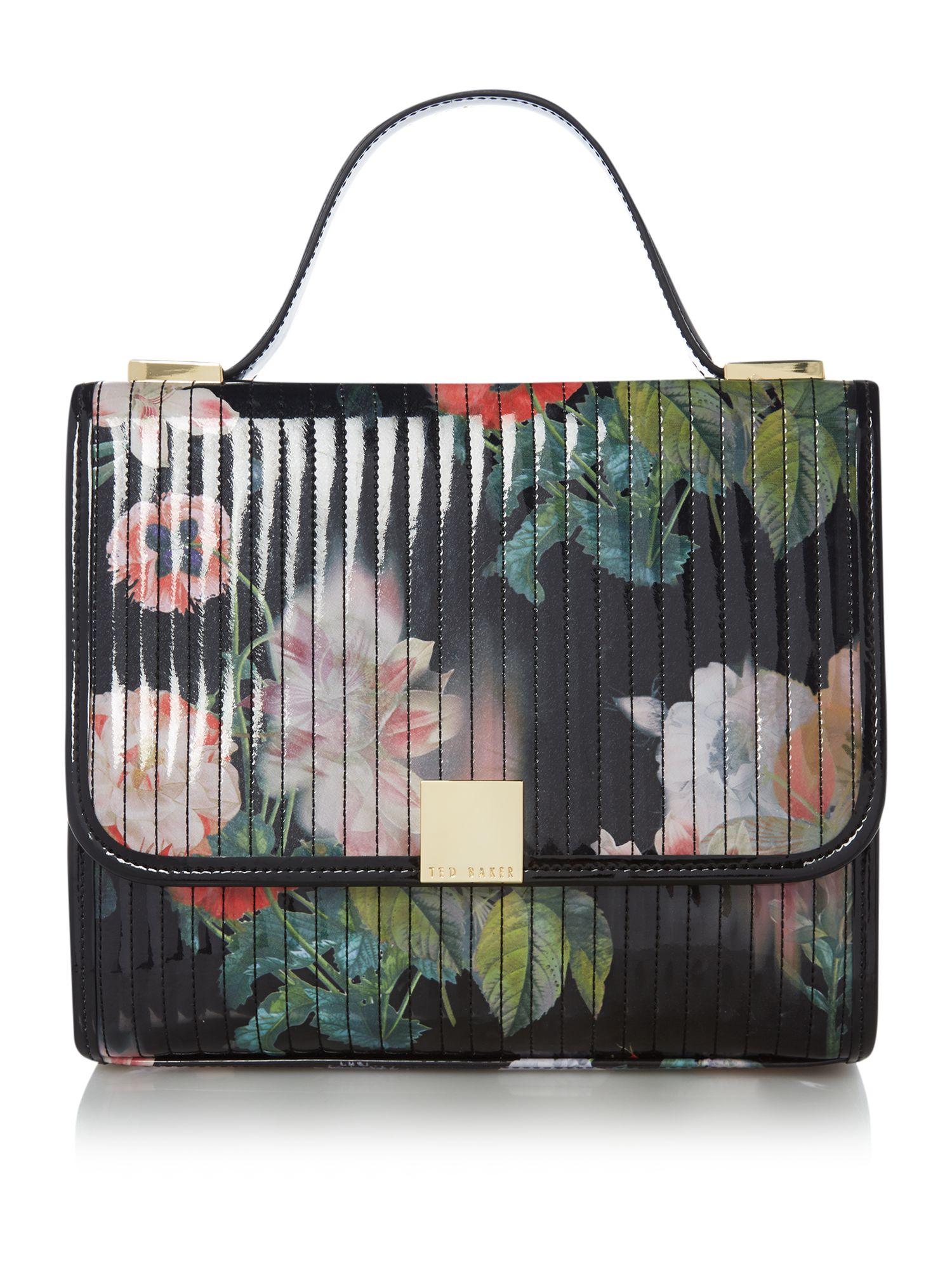 Ted Baker Black Floral Print Quilt Cross Body Bag In Multicolor (black)   Lyst
