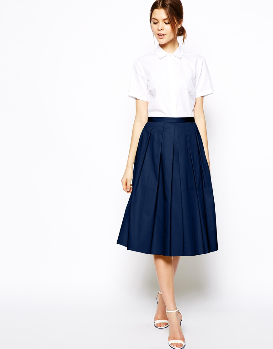 asos midi skirt in cotton in blue navy lyst