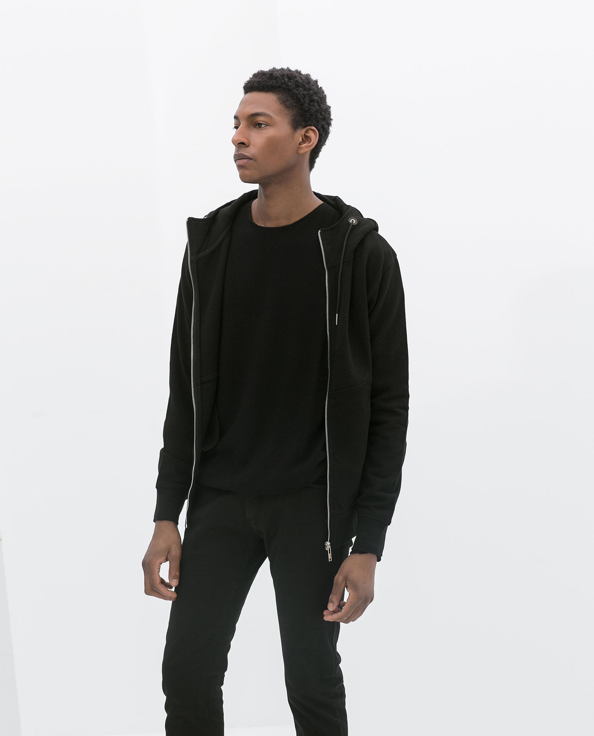 Zara Hoodie With Zip In Black For Men Lyst