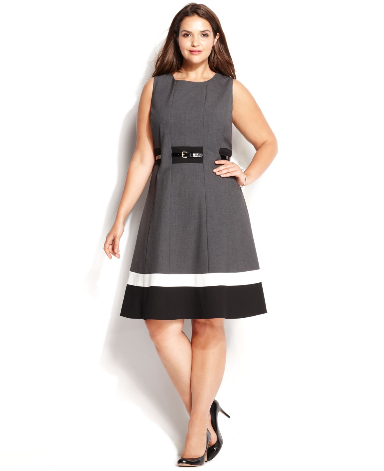 Lyst Calvin Klein Plus Size Colorblock Belted Dress In Black