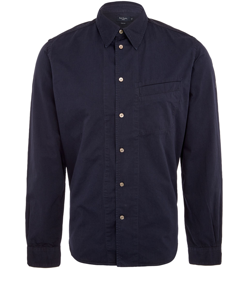 Lyst Paul Smith Navy Cotton Canvas Work Shirt In Blue