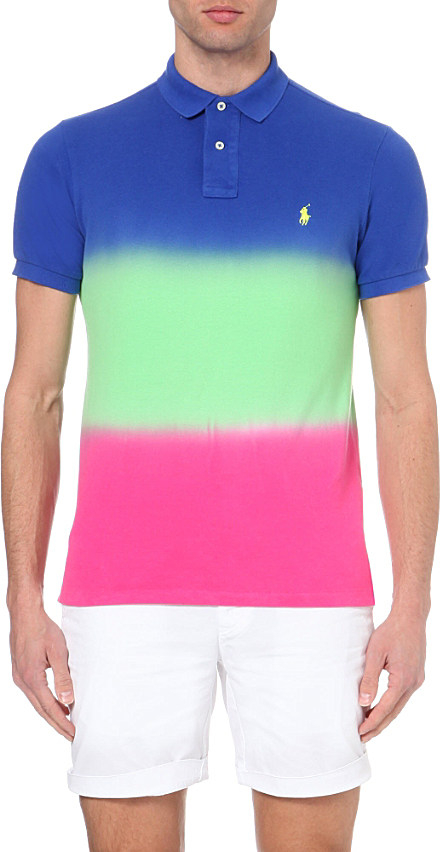 cafb057e3 Ralph Lauren Dip Dye Custom Fit Cotton Polo Shirt In Blue For Men Lyst