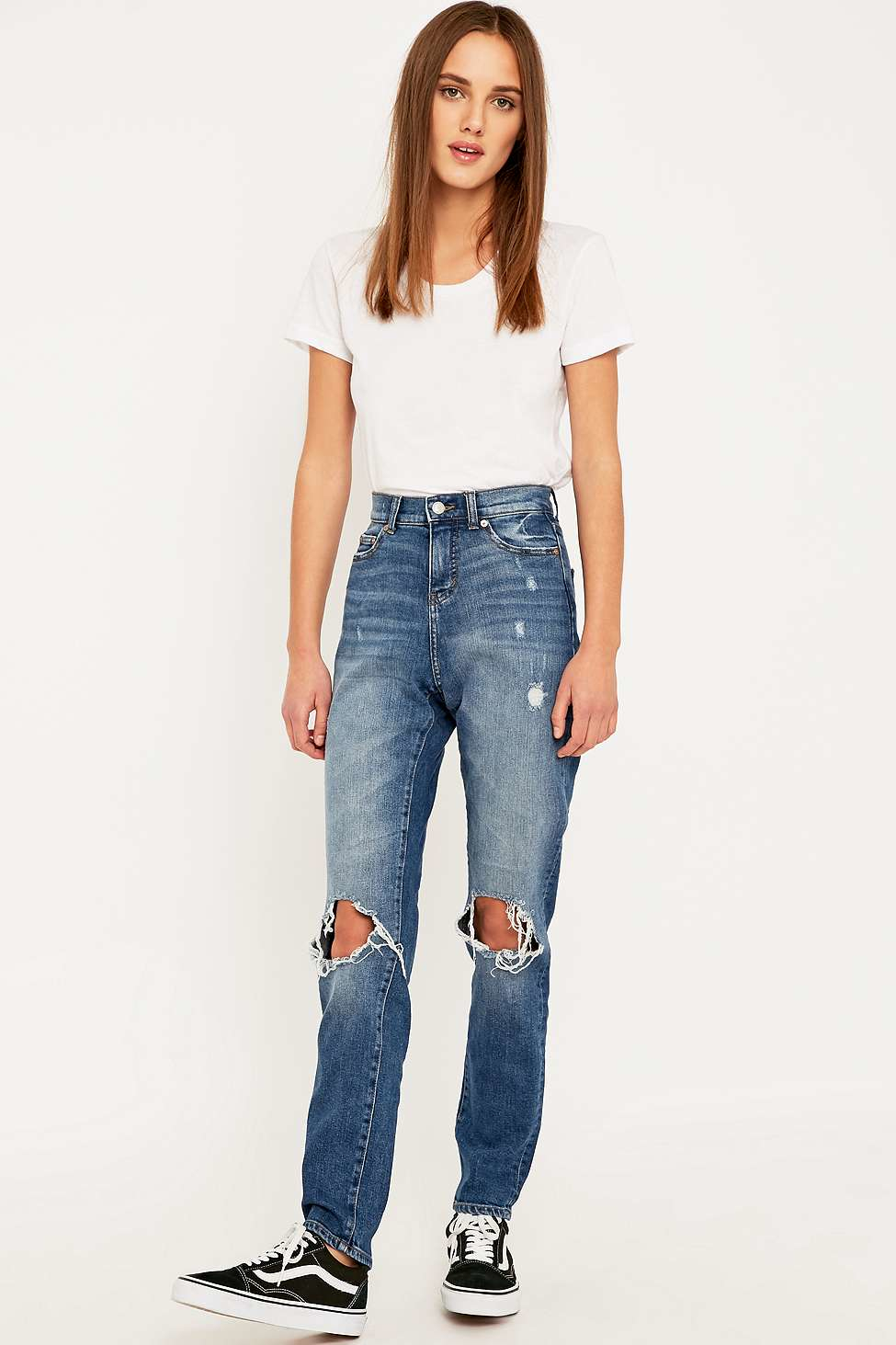 a541f0e7b075 Cheap Monday Donna Ripped Blue Straight Leg Jeans in Blue - Lyst