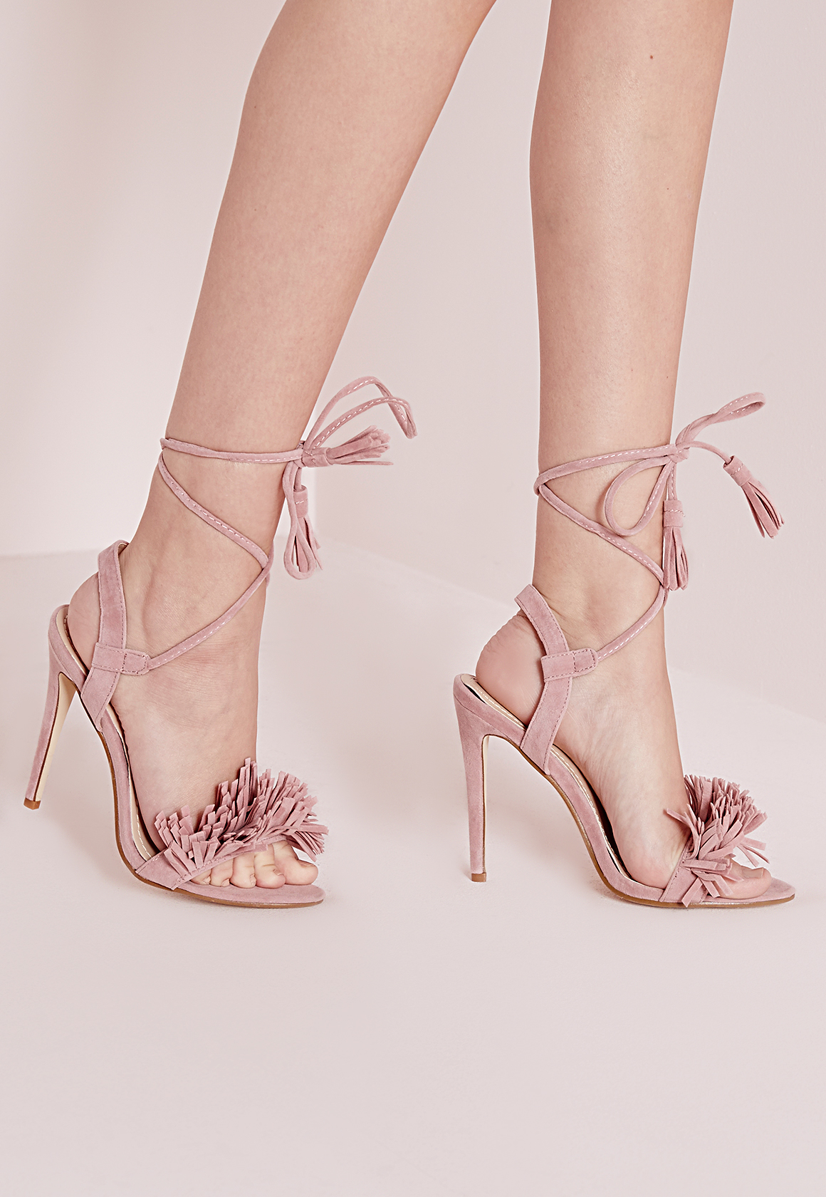 9ee39d1eca06a5 Lyst - Missguided Tassel Detail Barely There Heeled Sandals Pink in Pink