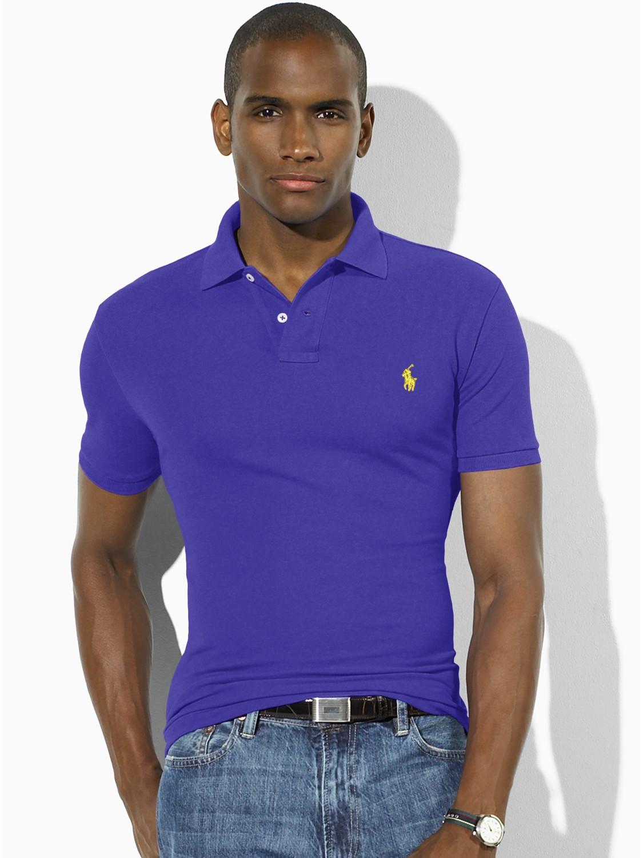 72b0819968 Polo Ralph Lauren Slim Fit Polo Shirt in Purple for Men - Lyst