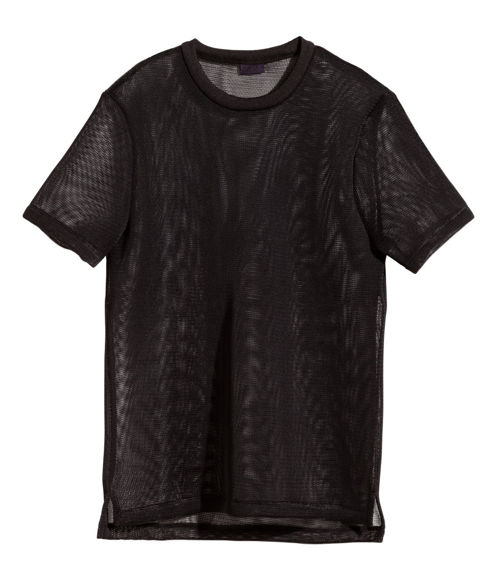 Lyst h m mesh t shirt in black for men for H m polo shirt mens