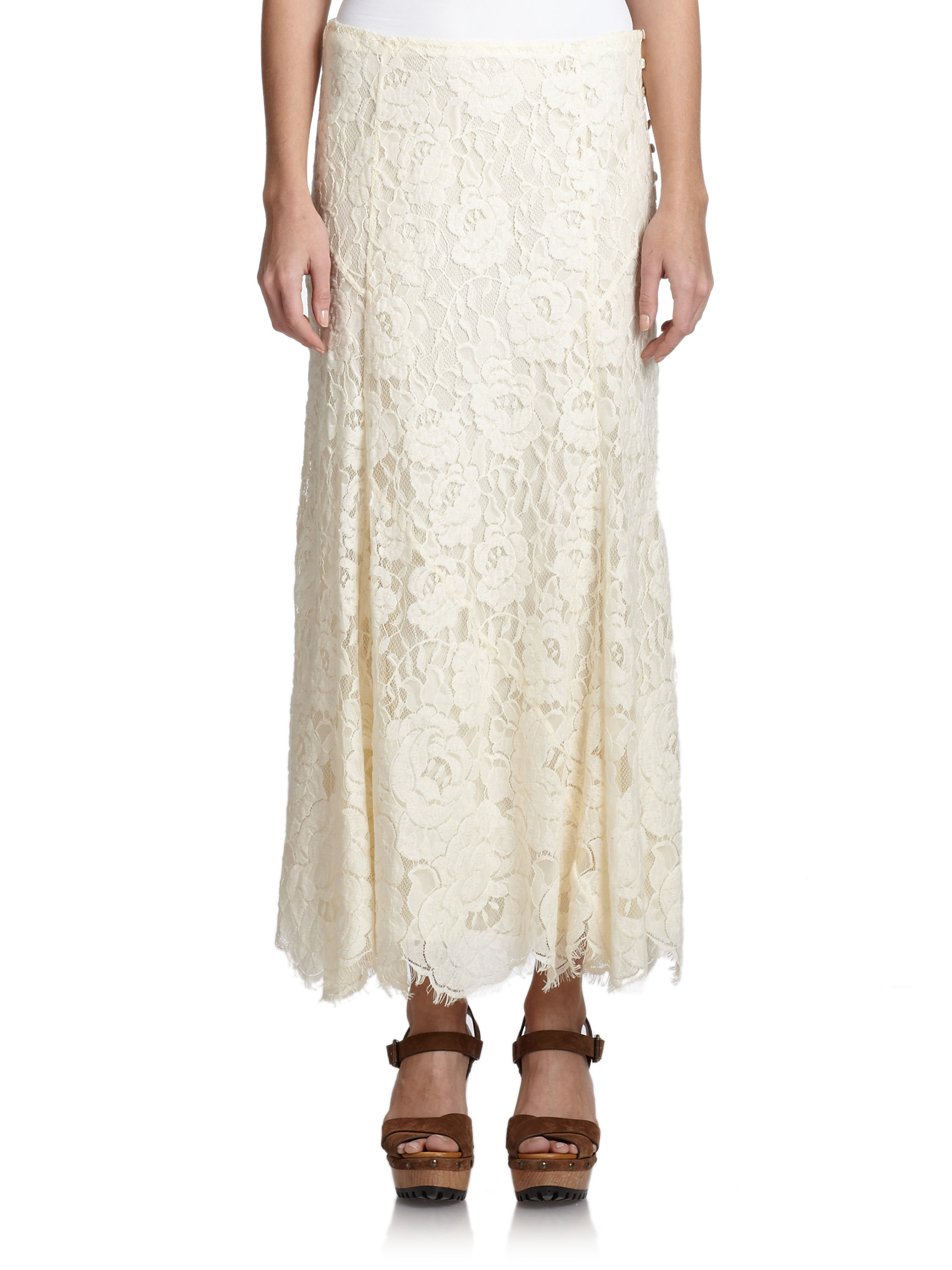 993c1d7793 Polo Ralph Lauren Lace Maxi Skirt in Natural - Lyst