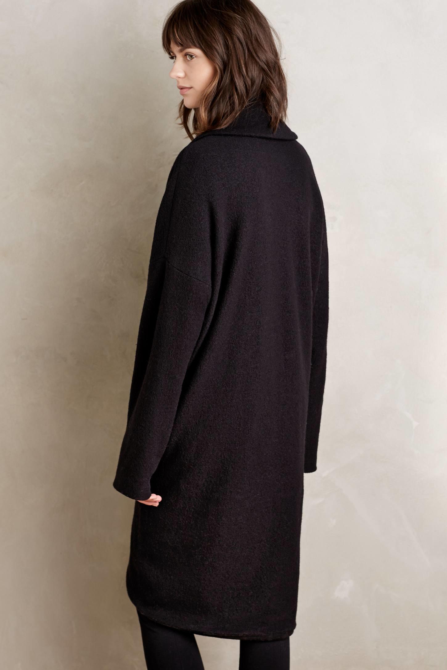 Moth Windsor Boiled Wool Sweater Coat in Black | Lyst