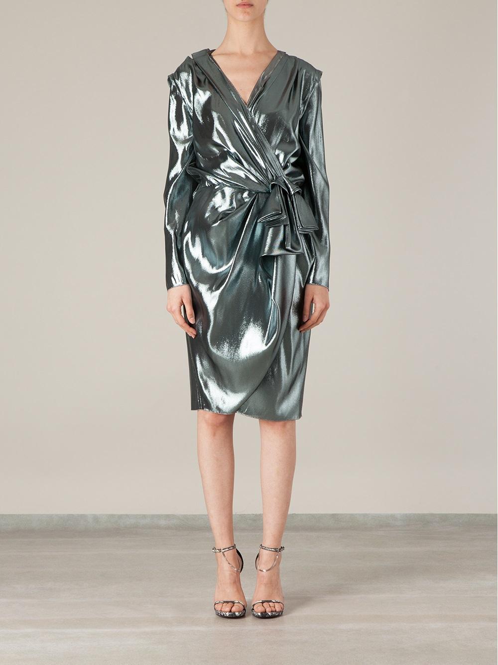 Lyst Lanvin Metallic Wrap Dress In Metallic