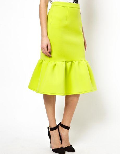asos pencil skirt with peplum hem in green lime lyst