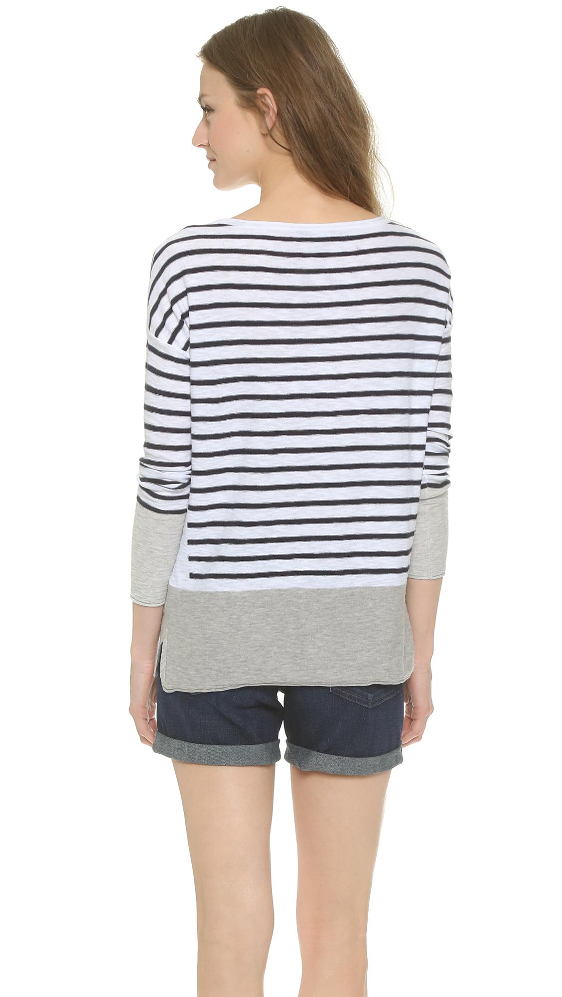 Vince Multi Stripe Boat Neck Sweater - Off White/Coastal Stripe in ...
