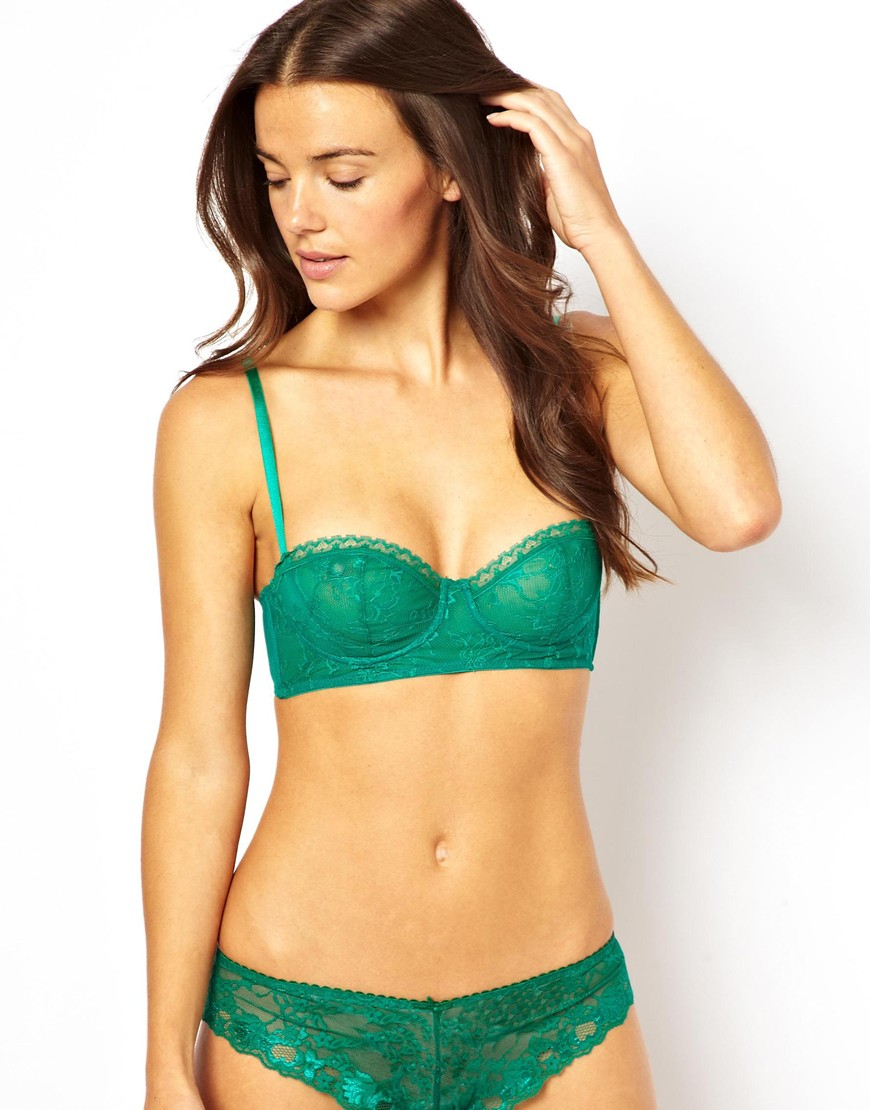 Asos Boudoir Demi Cup Lace Underwired Bra in Green