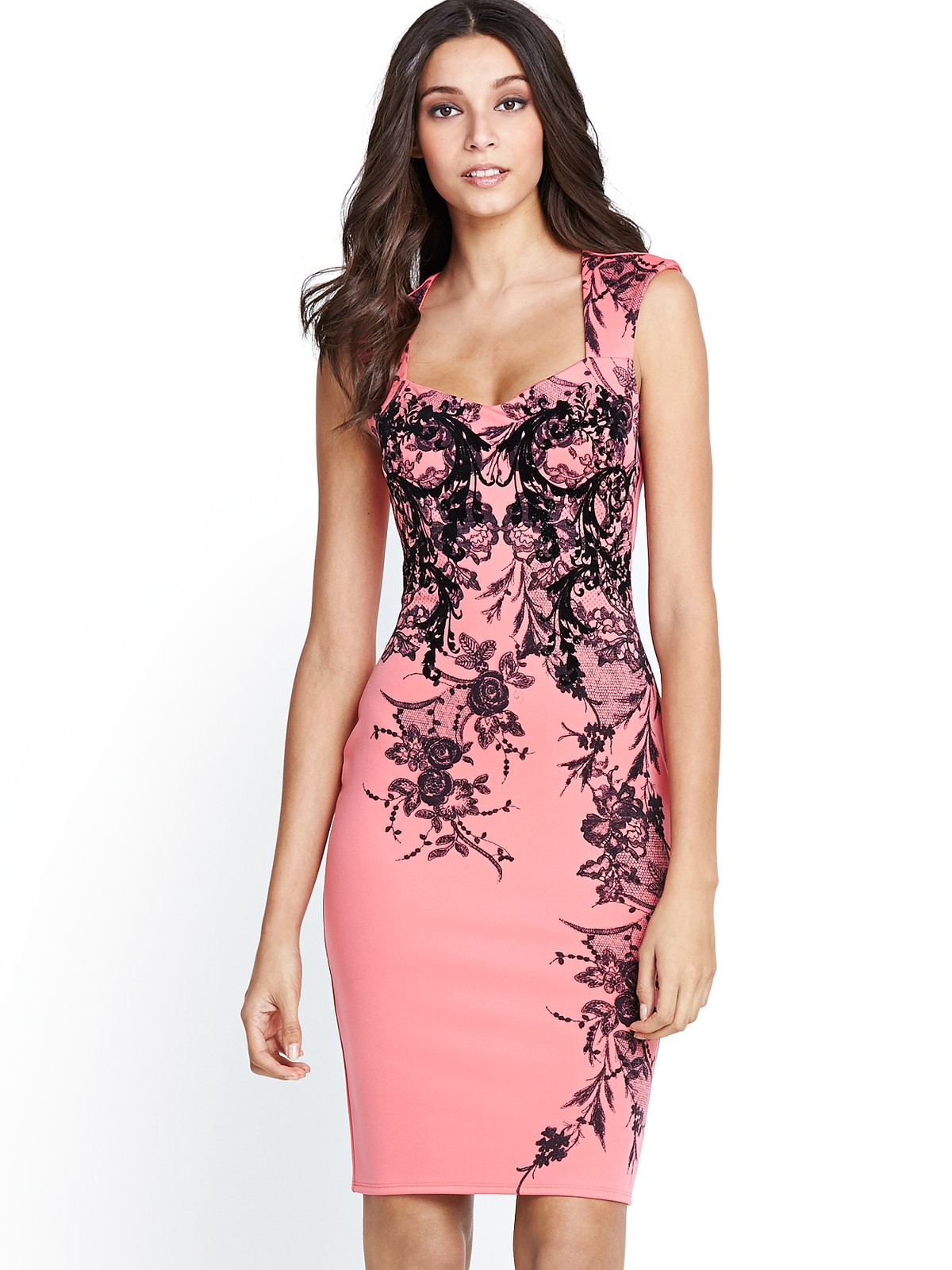 Online floral print bodycon dresses pumps