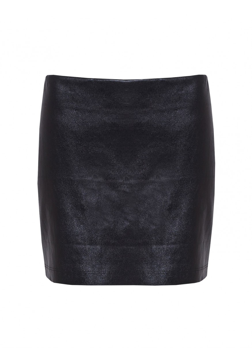 Alice   olivia Niko Fitted Leather Mini Skirt in Black | Lyst