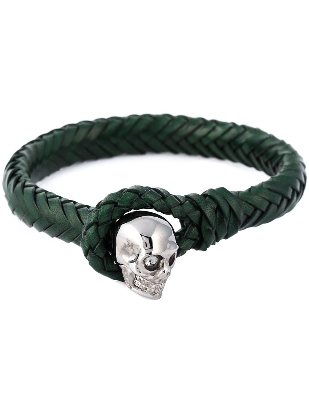 Alexander mcqueen Woven Skull Bracelet in Green for Men