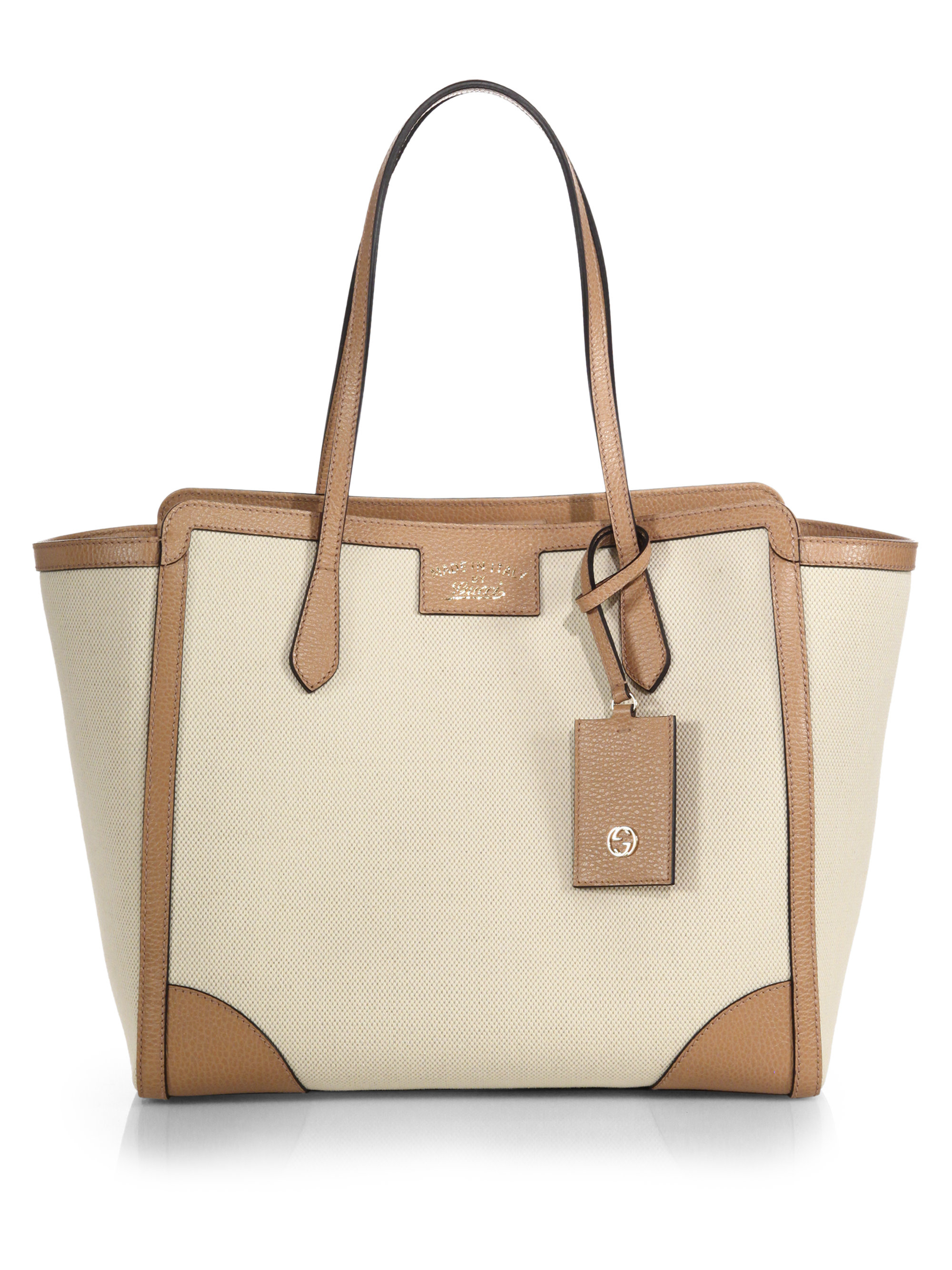 ea0a84b702db3d Gucci Swing Medium Canvas Tote in Natural - Lyst