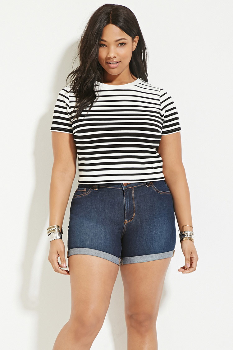 forever 21 plus size striped crop top in black | lyst