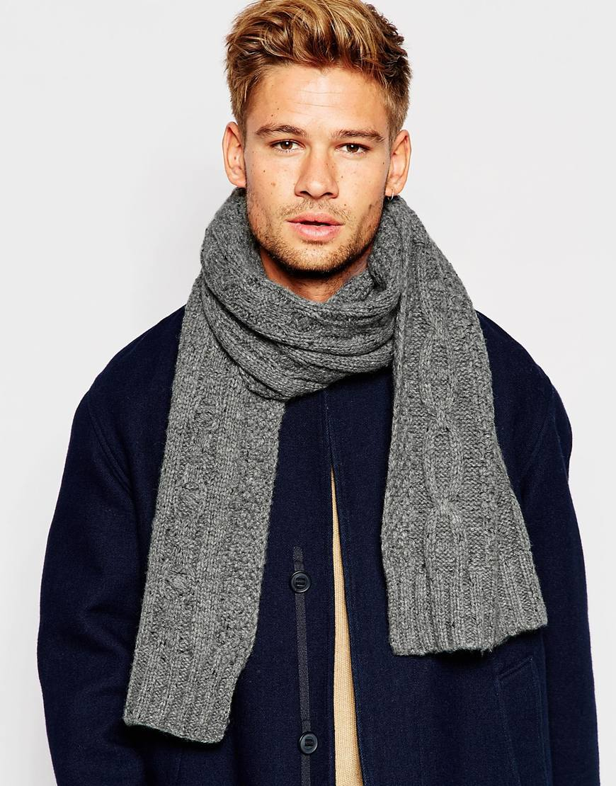 Selected Cable Knit Scarf In Gray For Men Lyst