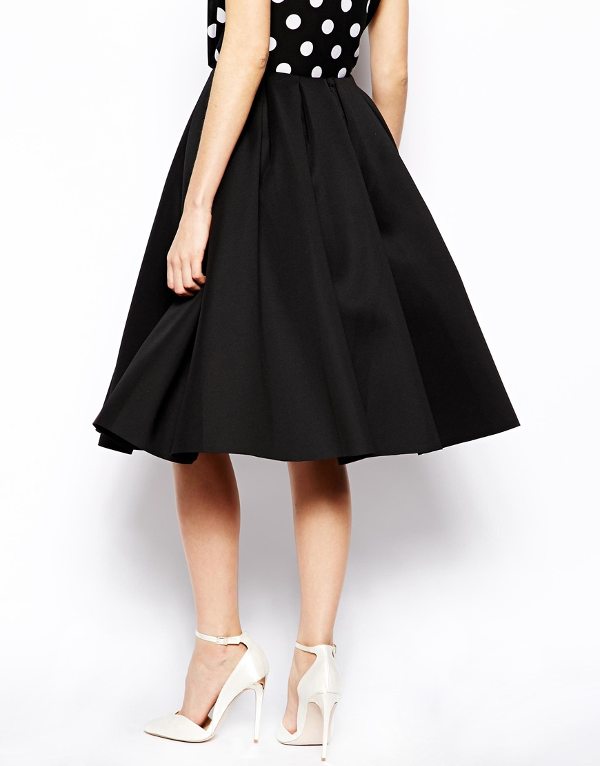 asos premium pleated midi skirt in scuba in white lyst