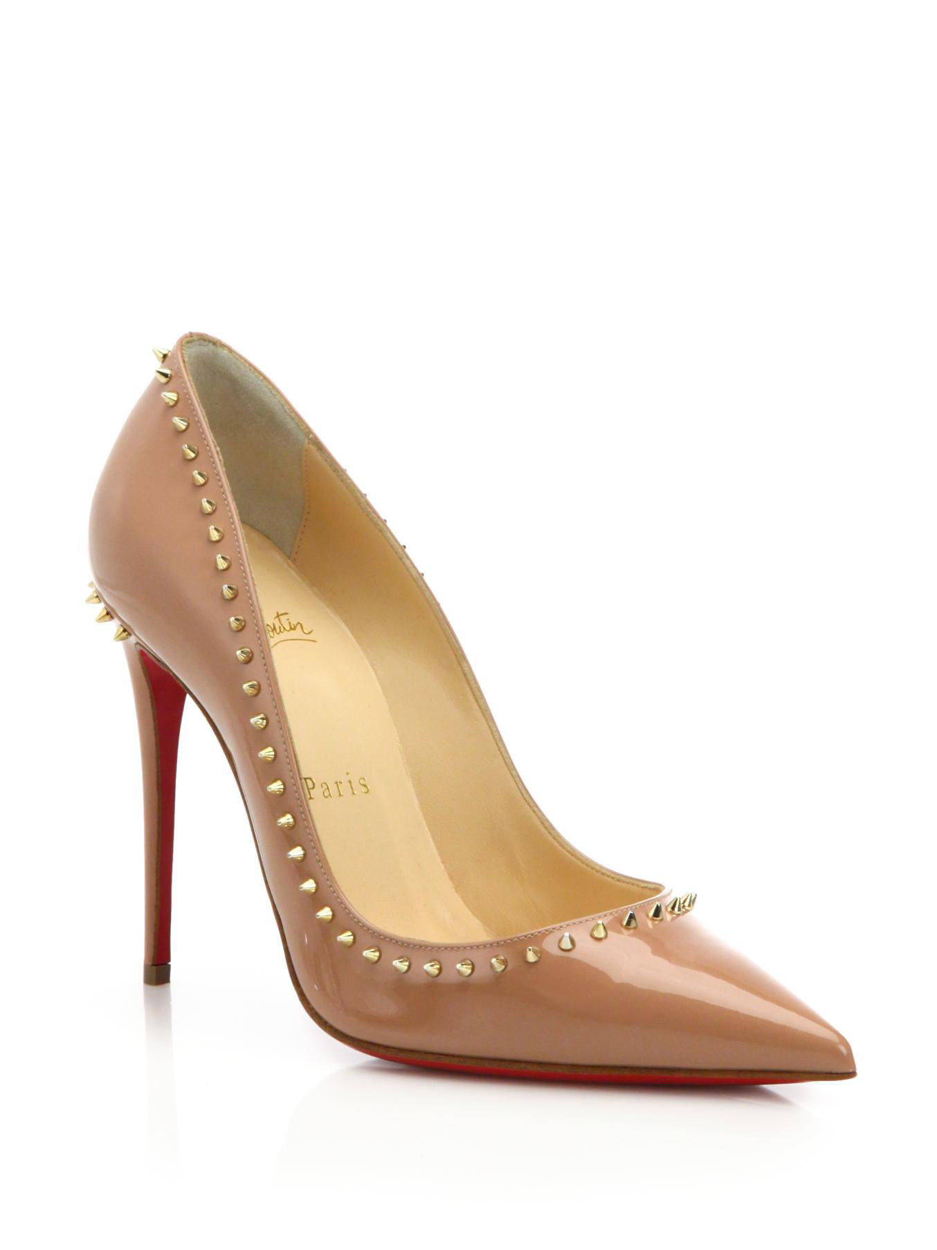 f8272f28d1cb Lyst - Christian Louboutin Anjalina Spiked Patent Leather Pumps in ...