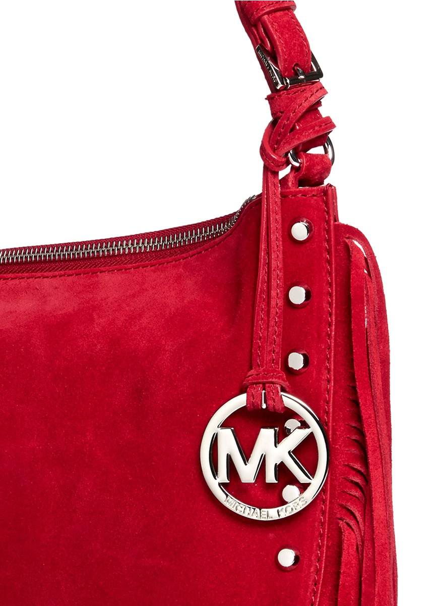 61cc220a59c1e9 91c10 d281f; order michael kors billy medium suede fringe shoulder bag in  red lyst d2c83 c4d71