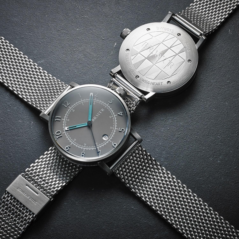 bravur watches steel case grey face grey strap in silver for men lyst. Black Bedroom Furniture Sets. Home Design Ideas