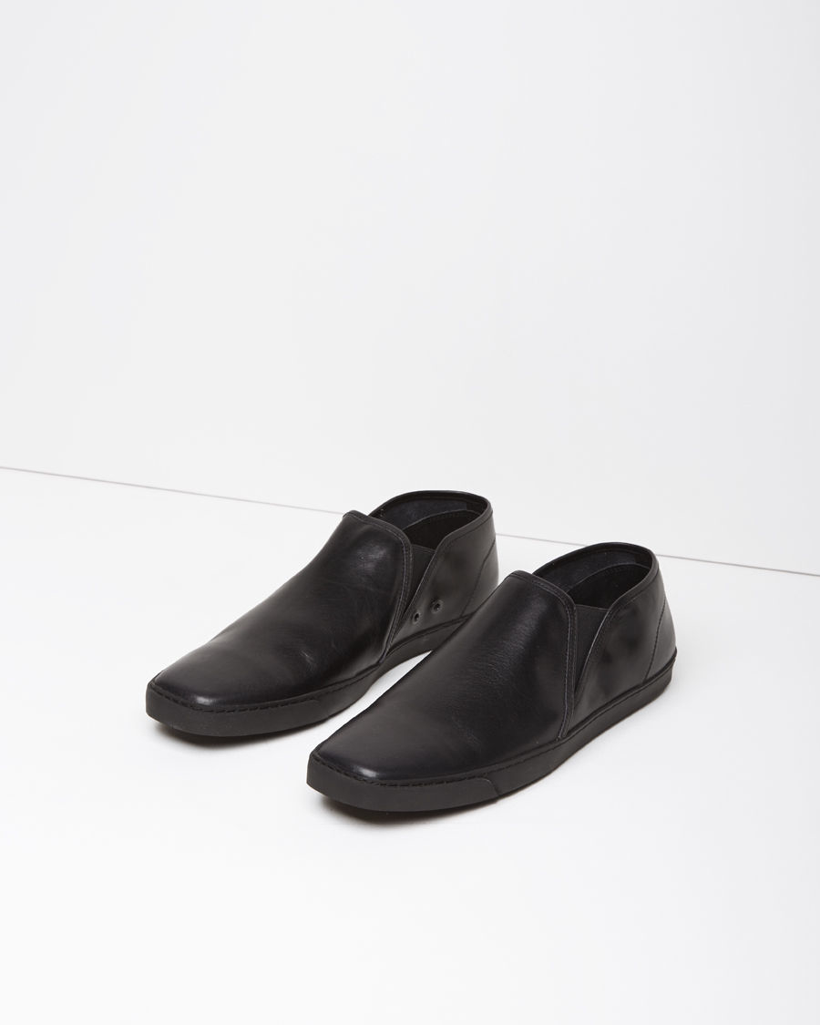 lemaire leather slip on shoes in black lyst
