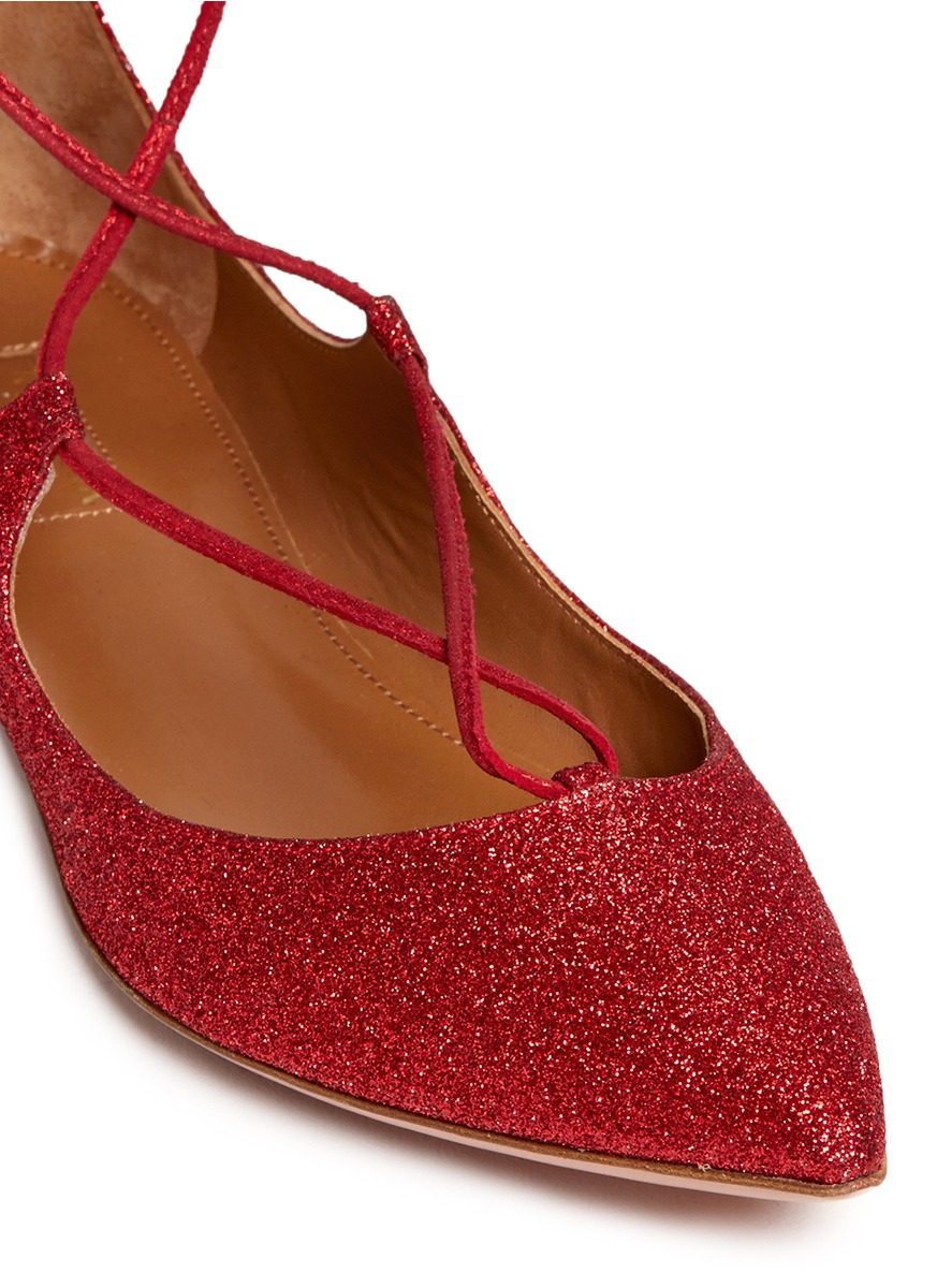 Lyst - Aquazzura  christy  Lace-up Metallic Glitter Flats in Red b349421028