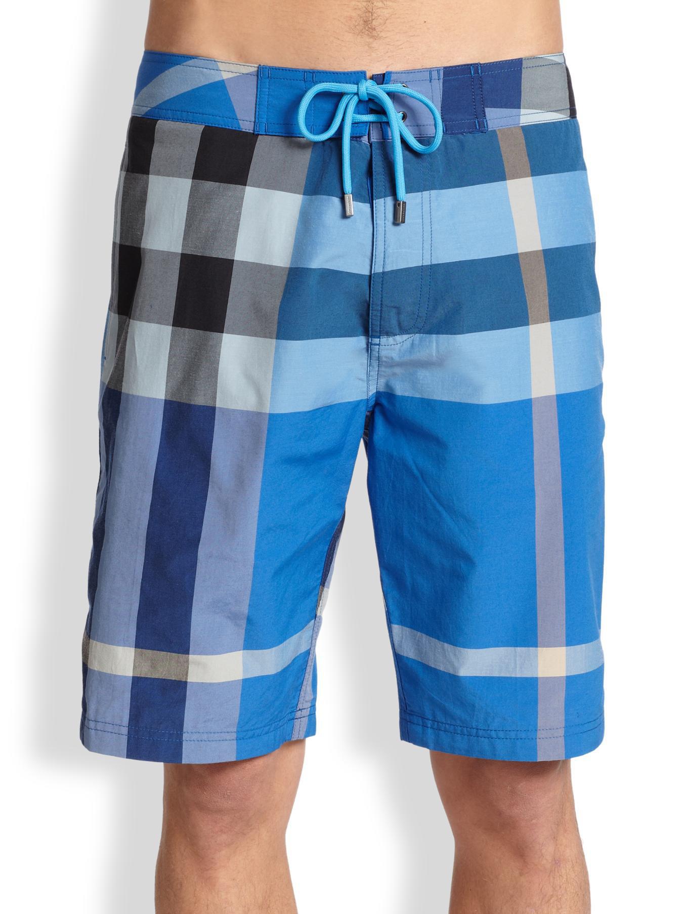 3fedcb2dd5 Burberry Brit Laguna Check Swim Trunks in Blue for Men - Lyst