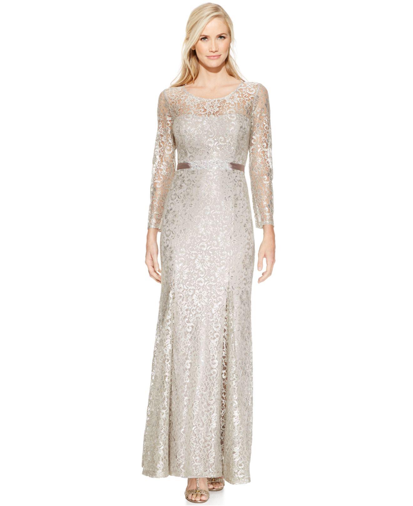 Lyst - Betsy & Adam Long-sleeve Open-back Lace Gown in Metallic