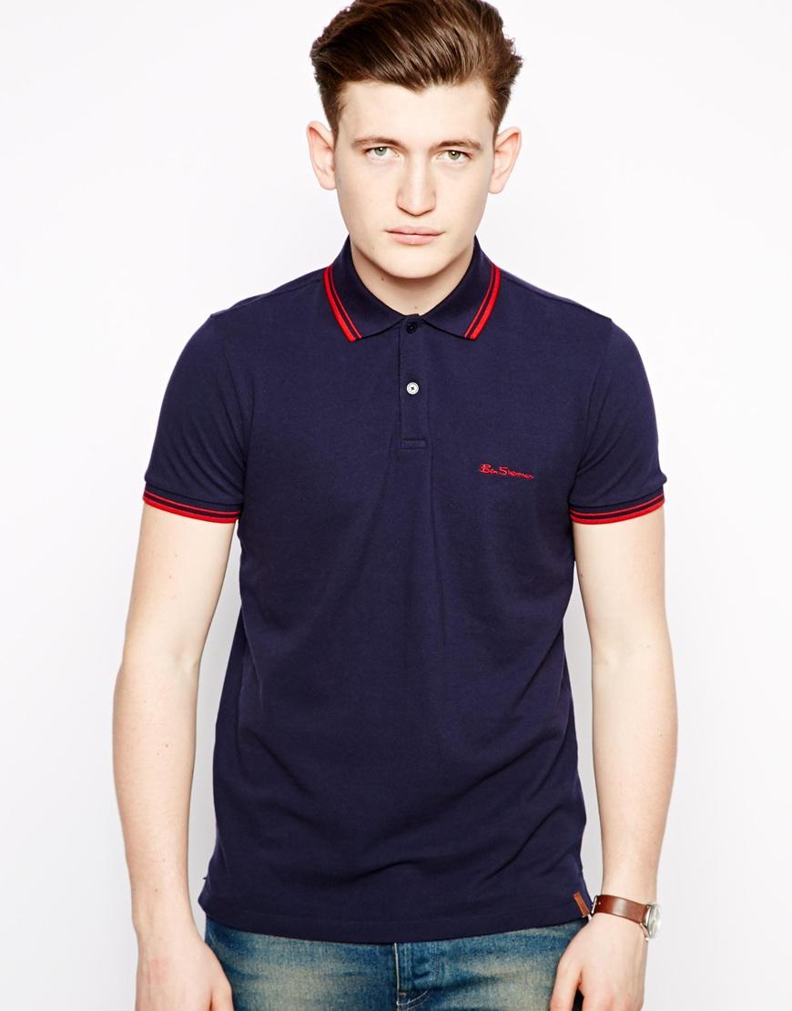 lyst ben sherman polo shirt in blue for men