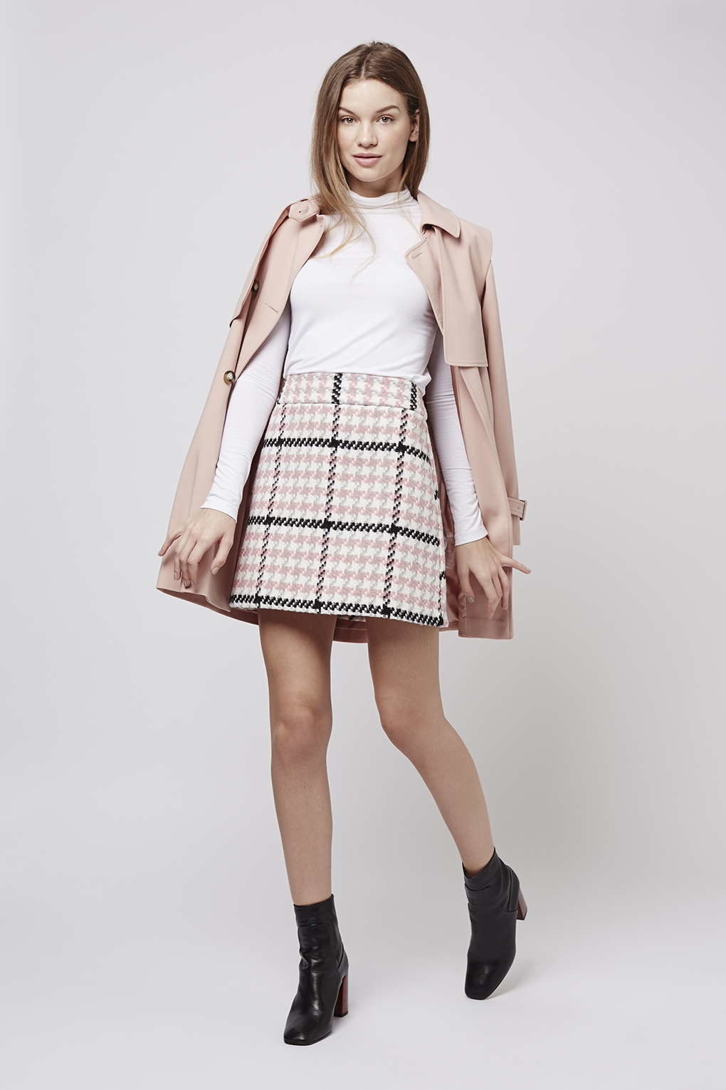 Topshop Check Mini Skirt in Pink | Lyst