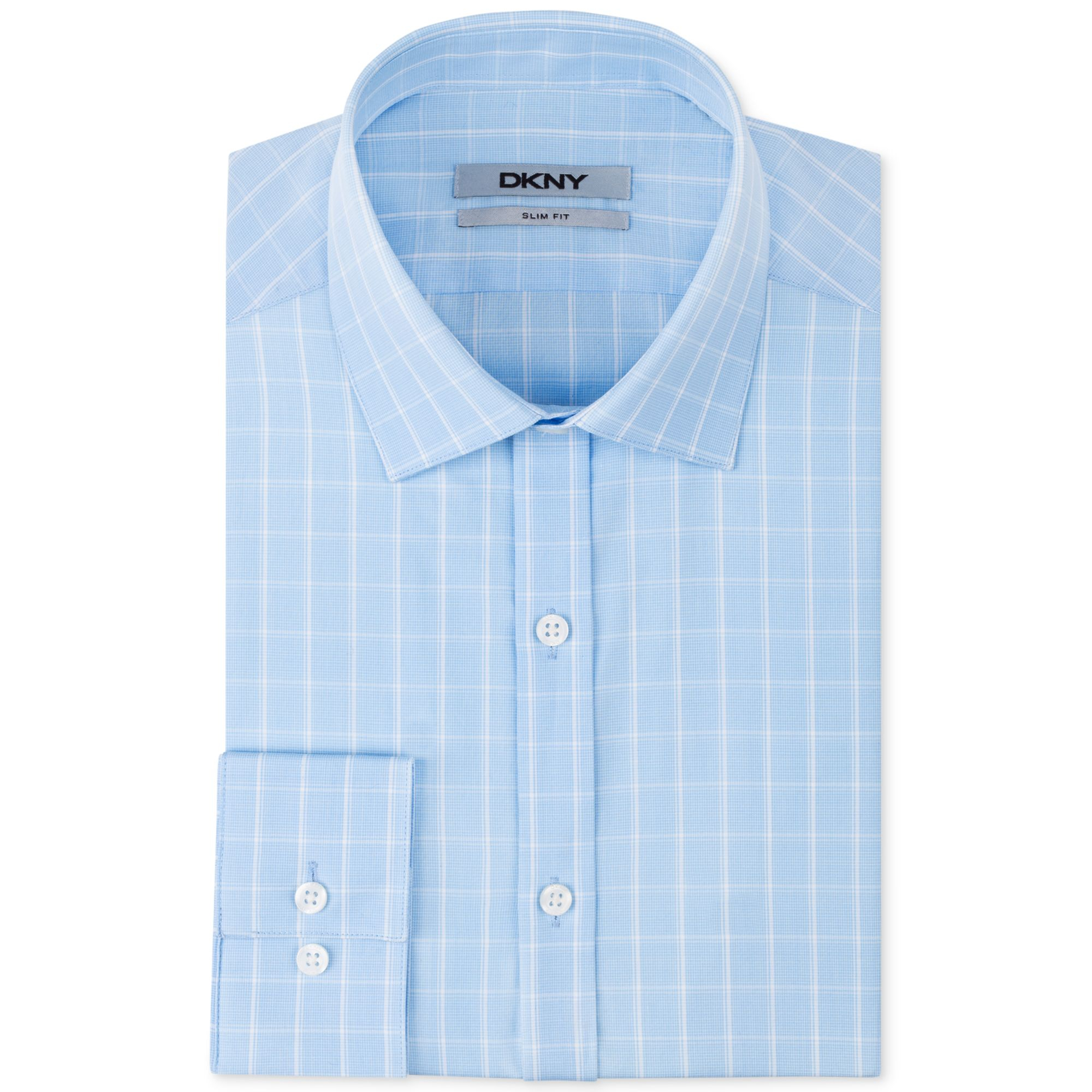 Dkny slim fit sky blue check dress shirt in blue for men for Blue check dress shirt