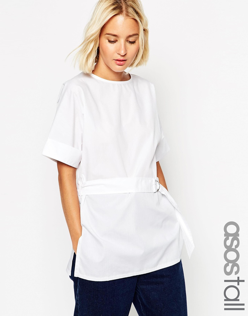 Asos Tall Clean Belted T Shirt In Cotton In White Lyst