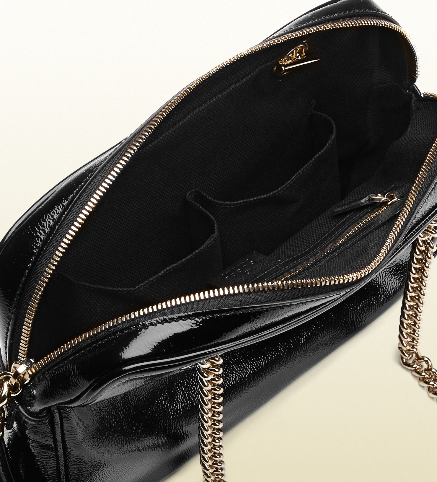 Gucci Soho Soft Patent Leather Chain Shoulder Bag in Black - Lyst 1283699cec466