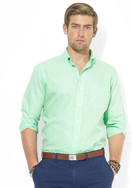 Polo ralph lauren sateen mercer pocket shirt in green for for Mint color polo shirt