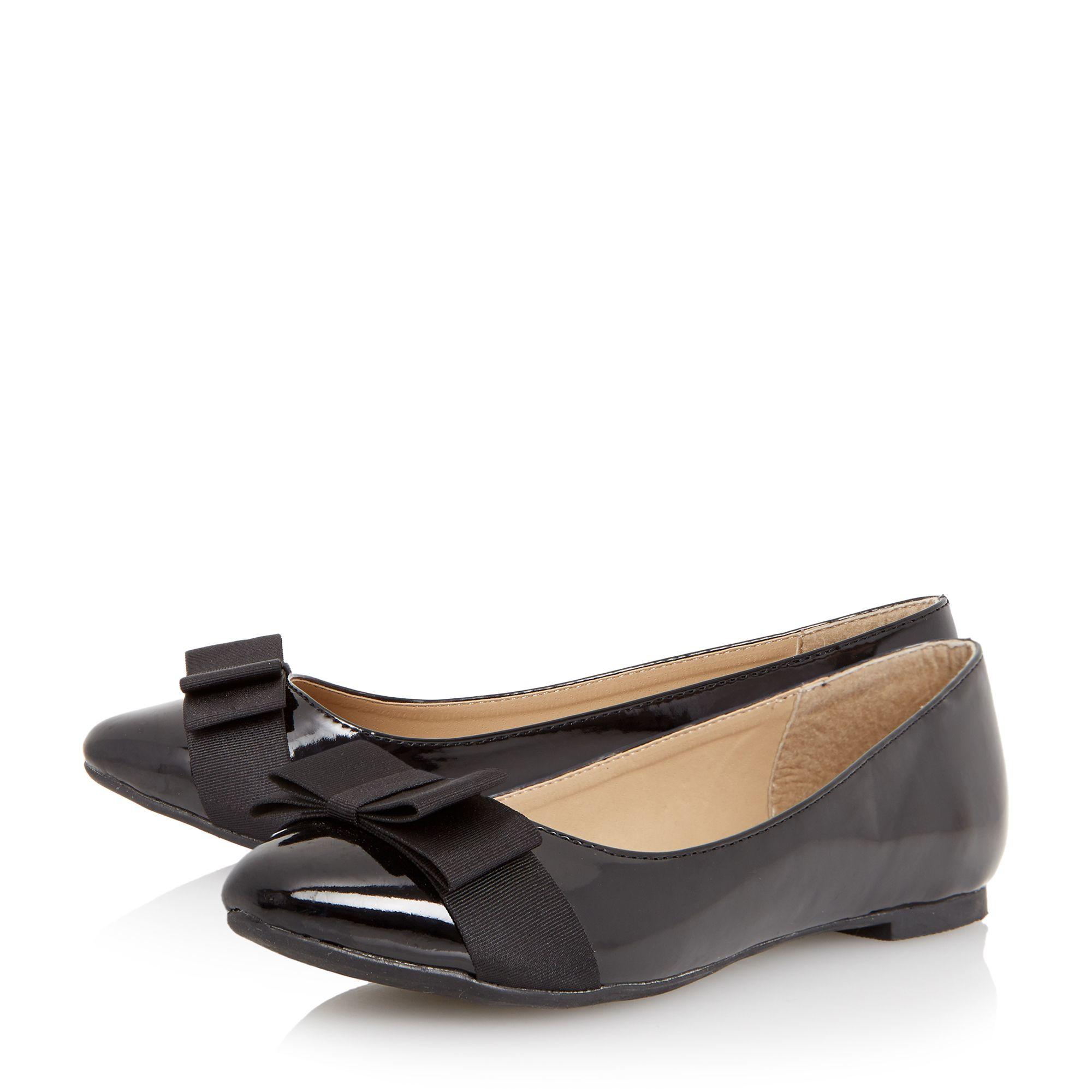 Dune Herva Bow Detail Ballerina Flat Shoes In Black   Lyst