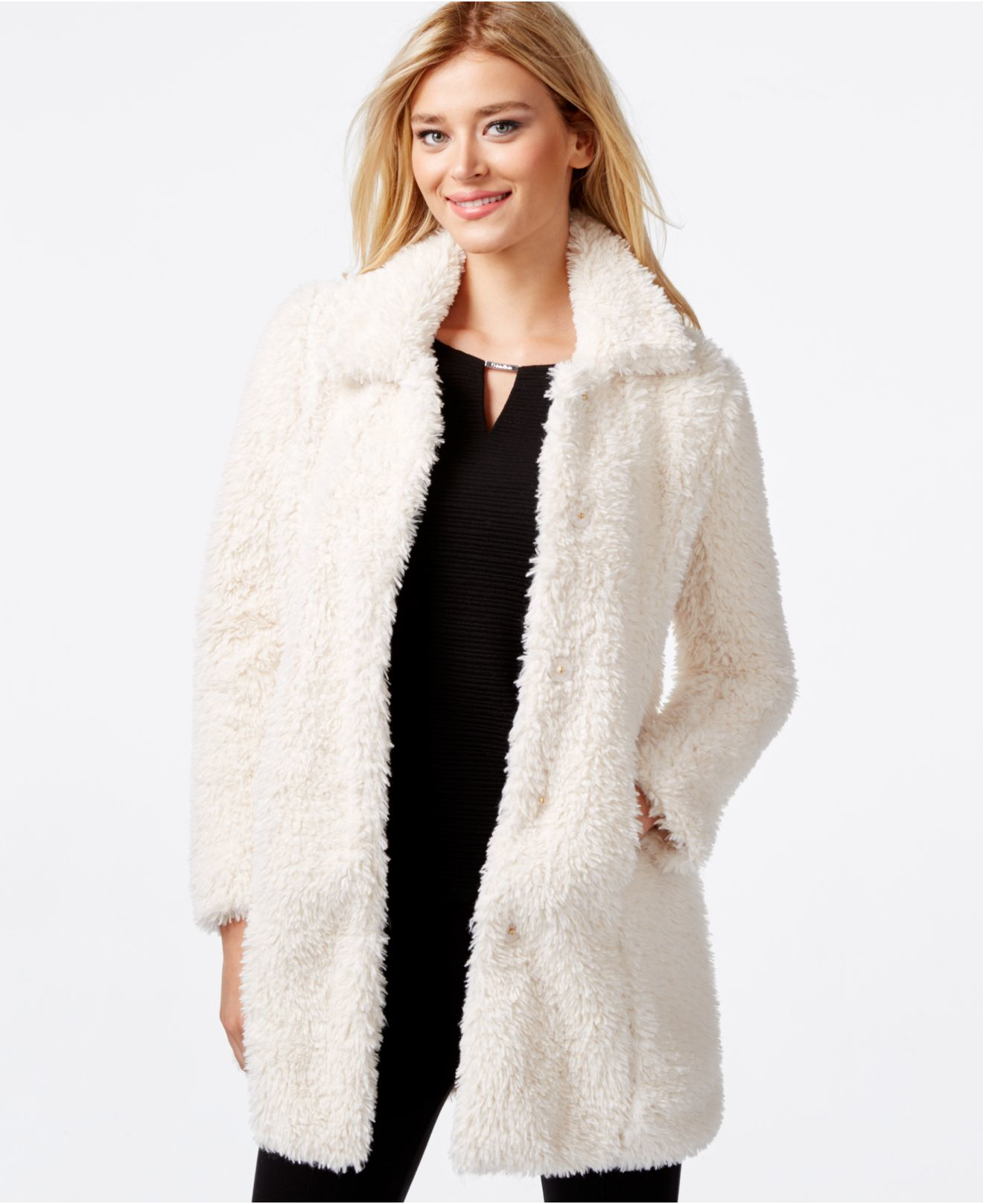 Calvin klein Faux-fur Coat in White | Lyst