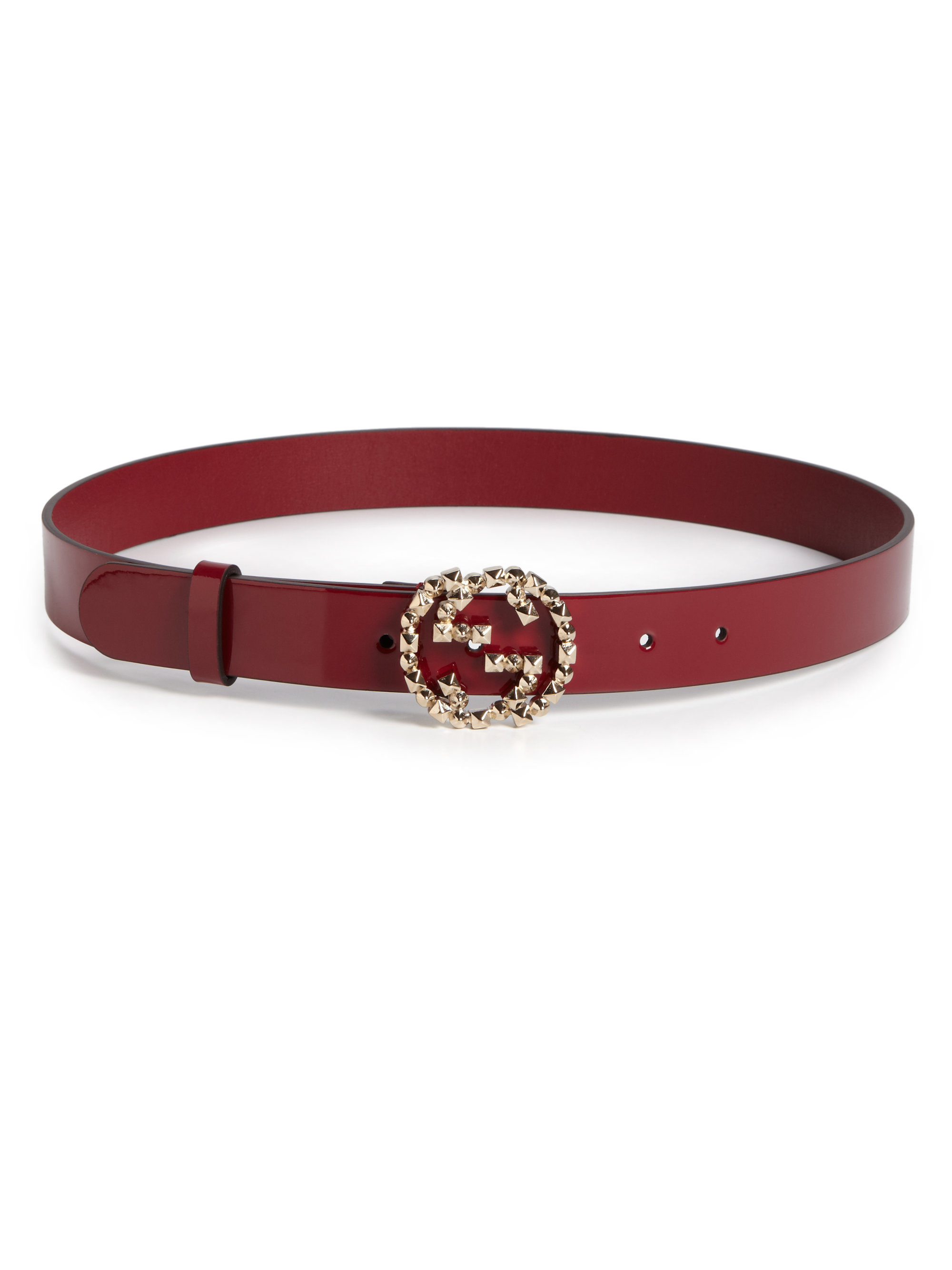 Gucci | Red Studded Buckle Leather Belt | Lyst