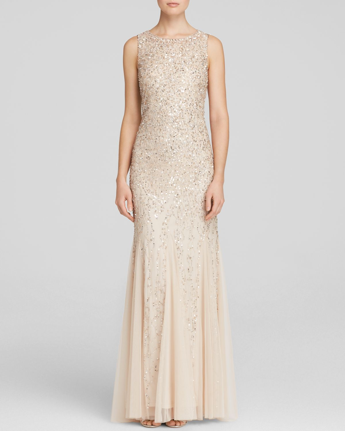 Aidan mattox Gown - Sleeveless Beaded Godet in Metallic | Lyst