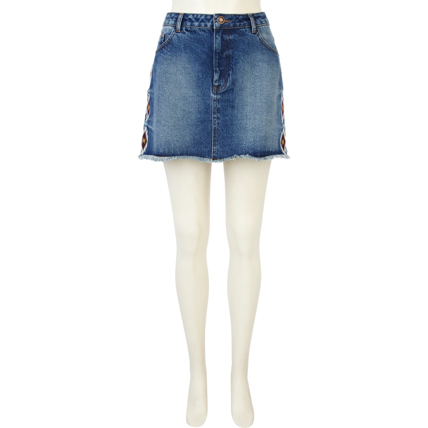 river island mid wash embroidered denim skirt in blue