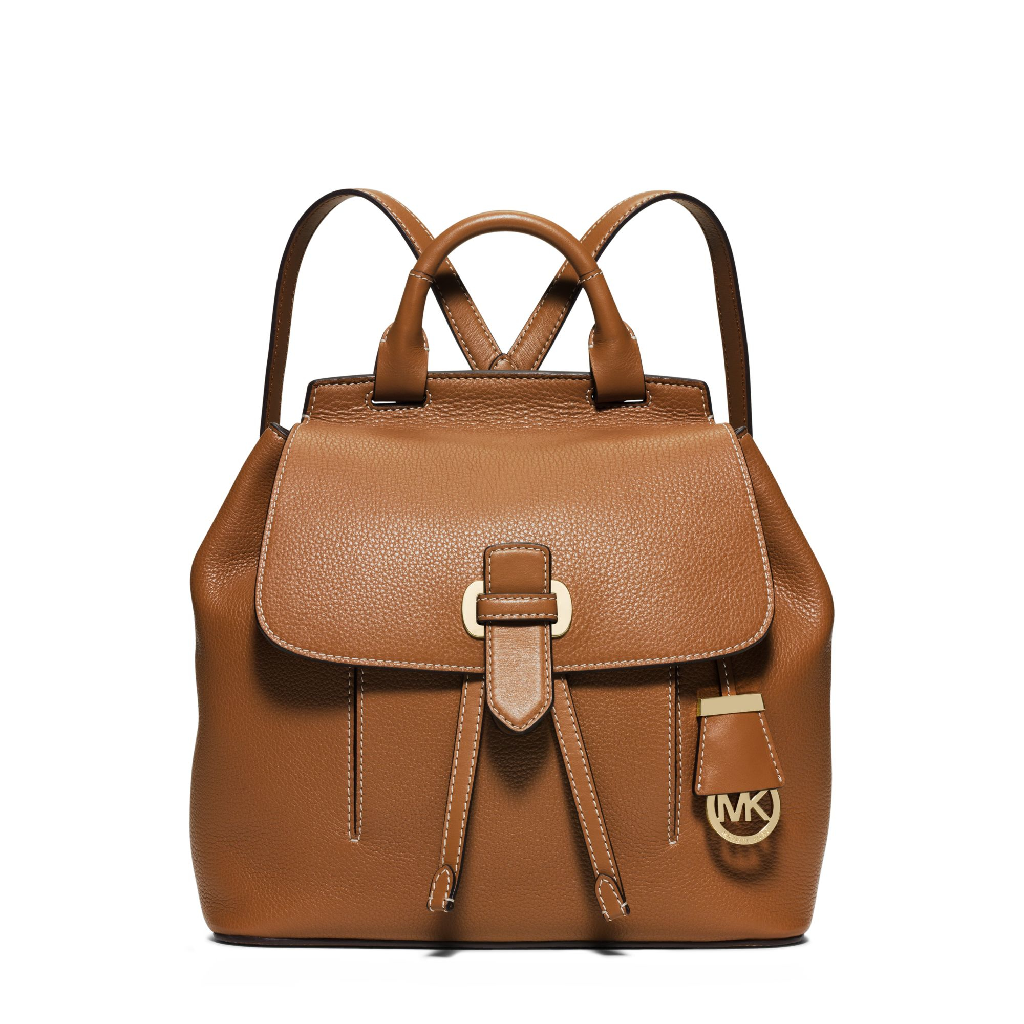 ba88077a01bd9 ... buy lyst michael kors romy medium leather backpack in brown 631dd da6d3