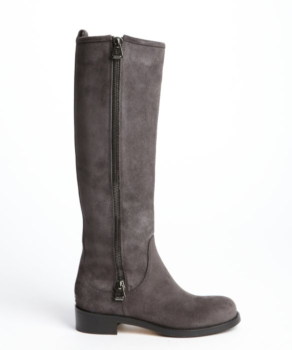 Lyst Jimmy Choo Smoke Suede Zipper Detail Tall Boots In Gray