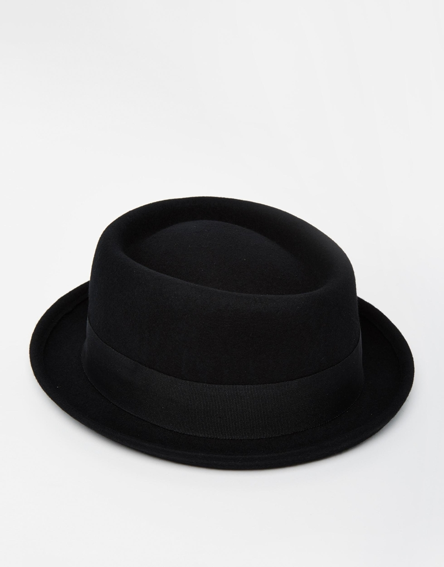 Asos Pork Pie Hat In Black Felt In Black For Men Lyst