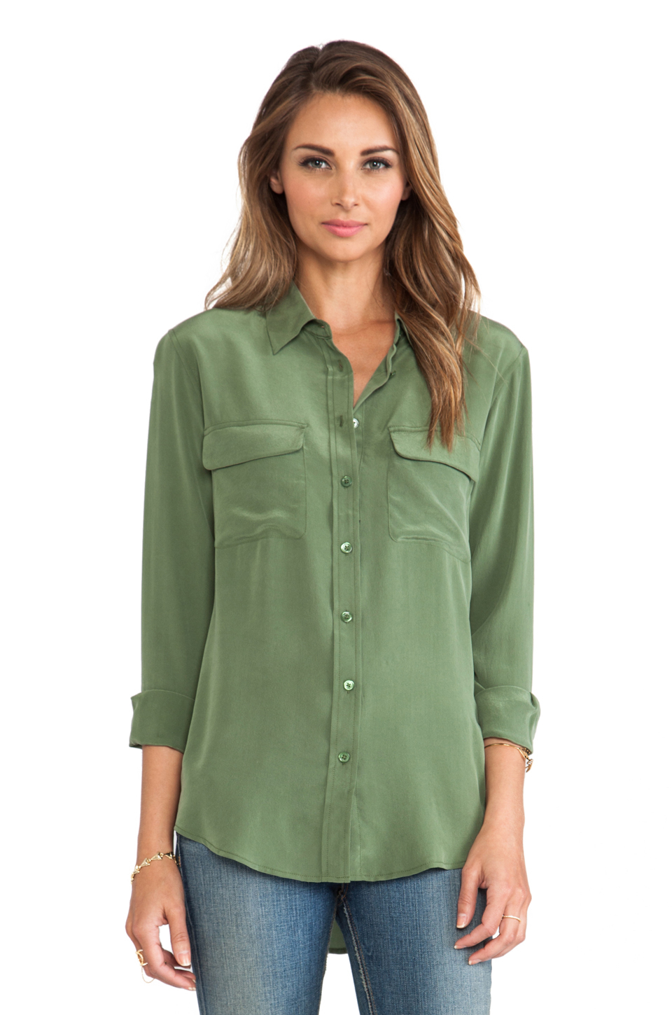 Lyst Equipment Slim Signature Blouse In Green